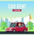 car rental poster concept cartoon-style vector image