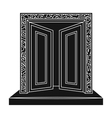 Gates to Valhalla icon in black style isolated on vector image
