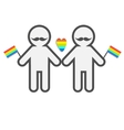Gay marriage Pride symbol Two contour man with vector image