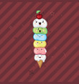 ice cream kawaii waffle cone funny face on a dark vector image