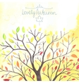 Watercolor Autumn tree with falling down leaves vector image