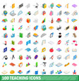 100 teaching icons set isometric 3d style vector image