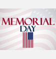 memorial day national american holiday banner vector image