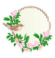 floral round frame with wild roses and bird vector image