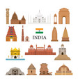 india architecture objects icons set vector image