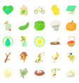 horticulture icons set cartoon style vector image