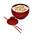 Bowl of Rice Boiled with Red Beans vector image vector image