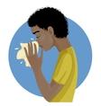 Sneezing african american man eps10 vector image vector image
