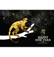 Happy china new year monkey gold low poly ape tree vector image