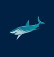 Shark fast moving logo sign on dark background vector image