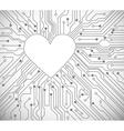 circuit board heart vector image vector image