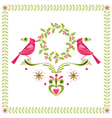 Christmas Card - Birds with Christmas Wreath vector image