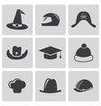 black helmet and hat icons set vector image