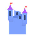 blue castle towers with flags icon cartoon style vector image