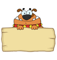 Cute Dog Over A Blank Wood Sign vector image