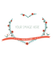 Floral greeting frame heart shape isolated vector image