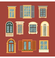 Set of Vintage Windows in flat style vector image