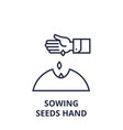 sowing seeds hand line icon outline sign linear vector image