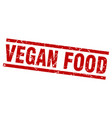 square grunge red vegan food stamp vector image
