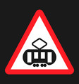 crossing with a tram sign line flat icon vector image