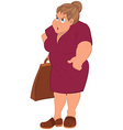 Cartoon fat woman in red dress and grocery bag vector image vector image