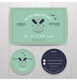 Nautical twin paddle wedding invitation and RSVP vector image