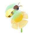 Bee on flower icon cartoon style vector image