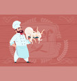 chef cook hold octopus smiling cartoon restaurant vector image