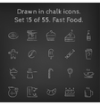 Fast food icon set drawn in chalk vector image