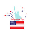 independence day card statue usa stars flat flag vector image