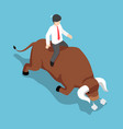 isometric businessman sitting on angry bull back vector image