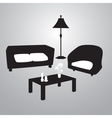 living room black and white eps10 vector image