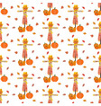 scarecrow and pumpkin pattern vector image