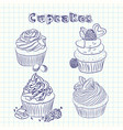 scetch cupcake sheet background vector image
