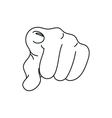 black print style hand pointing finger at viewer vector image