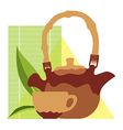 craft teacup and kettle vector image