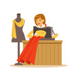 woman tailor sewing a red dress craft hobby or vector image