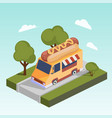 fast food motorhome with hot dog isometric vector image vector image