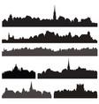 city silhouett set european cityscape views vector image
