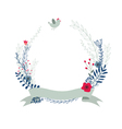 floral wreath decorative composition with ribbon vector image vector image