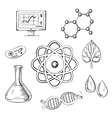 Biology and chemistry sketch icons vector image