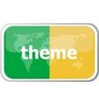 theme Flat web button icon World map earth icon vector image