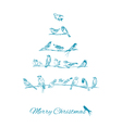 Christmas Card - Birds on Christmas Tree vector image vector image