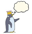 cartoon penguin wearing crown with thought bubble vector image