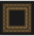 Golden frame in the modern mono line style on a vector image