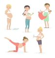 Pregnant women health care yoga nutrition vector image