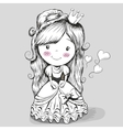 Pretty Drawing Princess vector image