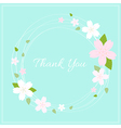 Spring wreath with cherry blossom vector image