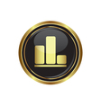 Business graph icon on black with gold button vector image