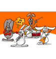 rabbits rock music band cartoon vector image vector image